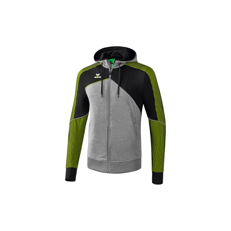 Erima Premium One 2.0 Trainingsjacke mit Kapuze Kinder grau melange/schwarz/lime pop 140