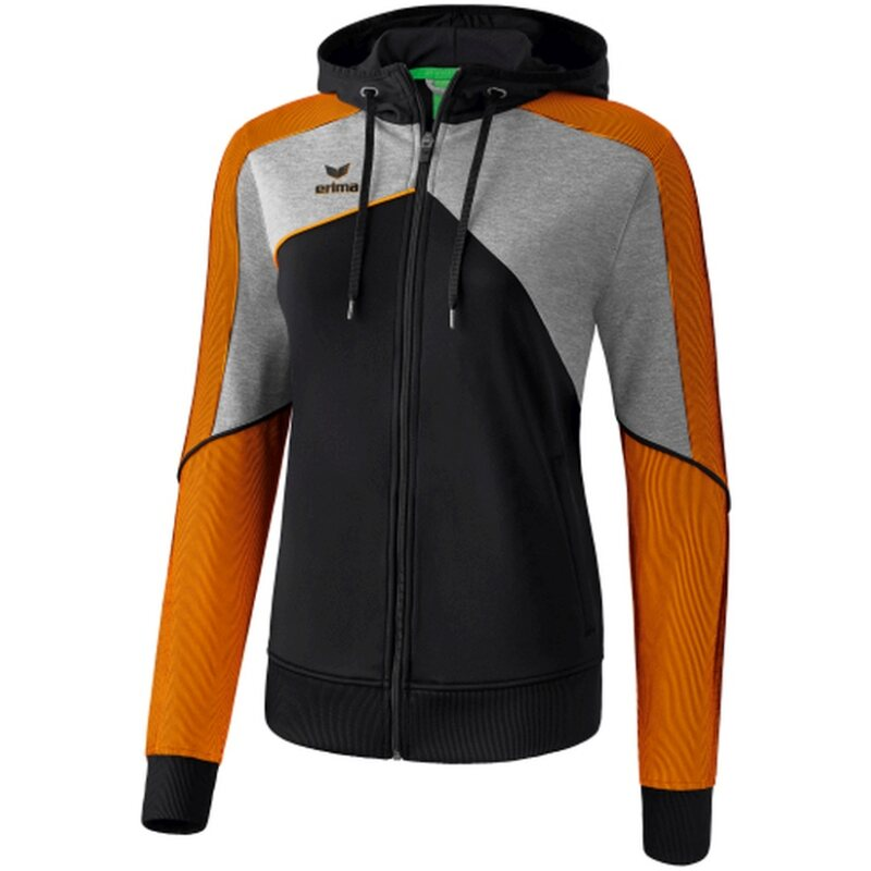 Erima Premium One 2.0 Trainingsjacke mit Kapuze Damen schwarz/grau melange/neon orange 48