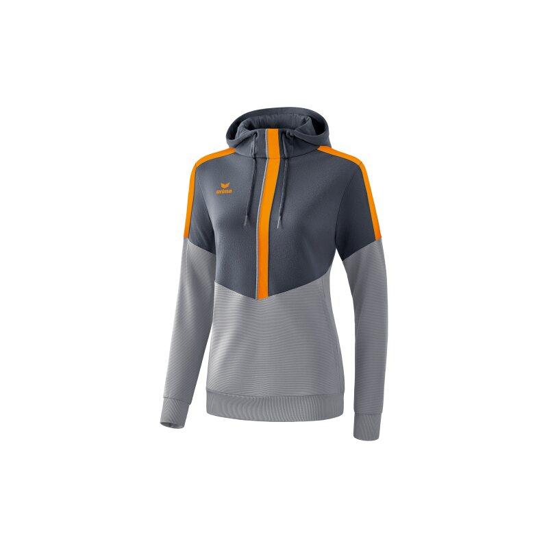 Erima Squad Kapuzensweat Damen slate grey/monument grey/new orange 44