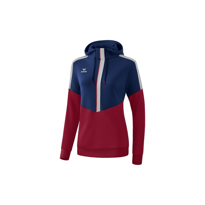 Erima Squad Kapuzensweat Damen new navy/bordeaux/silver grey 42
